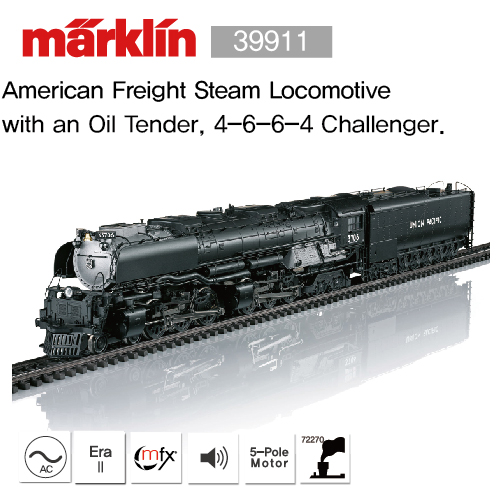 Marklin 39912 American Freight Steam Locomotive with an Oil Tender, 4-6-6-4 Challenger