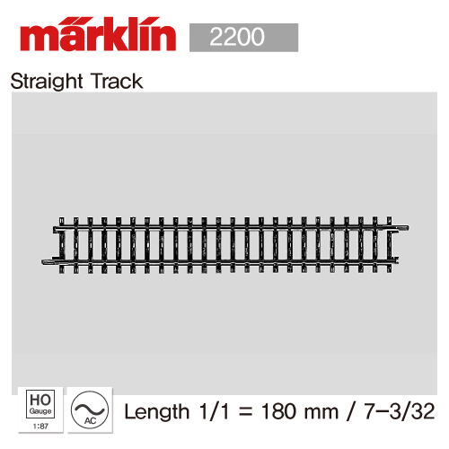 Marklin 2200 Straight Track Length 1/1 = 180 mm / 7-3/32
