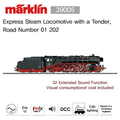 Marklin 39005 Express Steam Locomotive with a Tender, Road Number 01 202