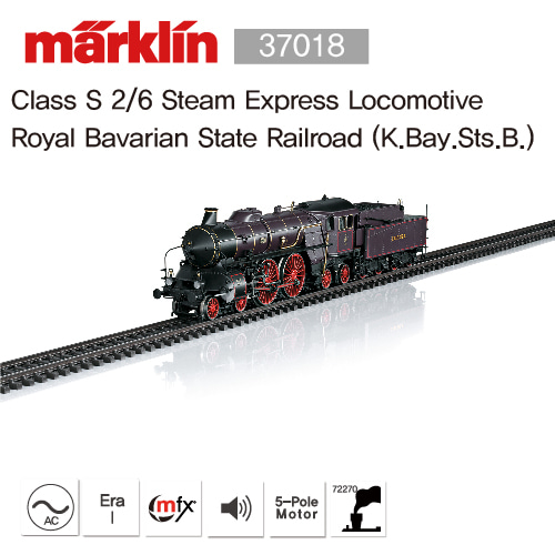 MARKLIN 37018 Class S 2/6 Steam Express Locomotive Royal Bavarian State Railroad (K.Bay.Sts.B.)