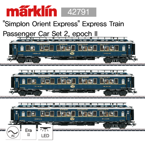 "[기간 한정 할인] MARKLIN 42791 ""Simplon Orient Express"" Express Train Passenger Car Set 2, epoch II"
