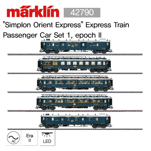 "[기간 한정 할인] MARKLIN 42790 ""Simplon Orient Express"" Express Train Passenger Car Set 1, epoch II"