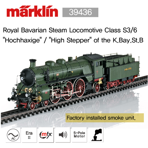 "MARKLIN 39436 Royal Bavarian Steam Locomotive Class S3/6  ""Hochhaxige"" / ""High Stepper"" of the K.Bay.St.B"