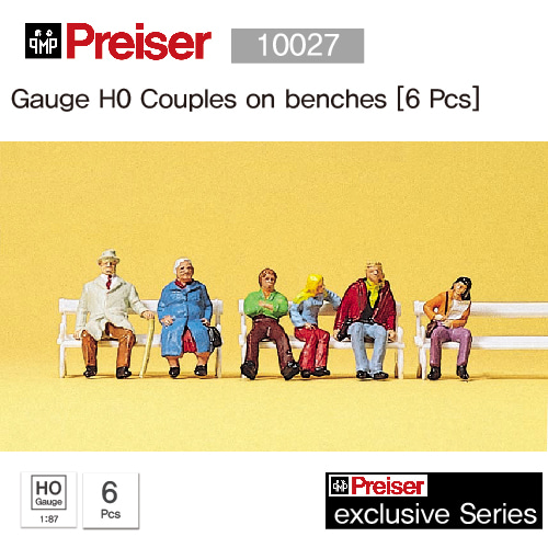 Preiser 10027 Gauge H0 Couples on benches