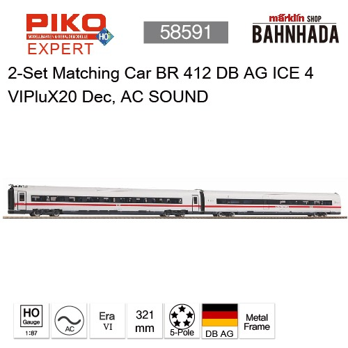 PIKO 58591 2-Set Matching Car BR 412 DB AG ICE 4 VIPluX20 Dec, AC SOUND
