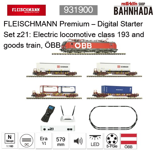 931900 - FLEISCHMANN Premium – Digital Starter Set z21: Electric locomotive class 193 and goods train, ÖBB
