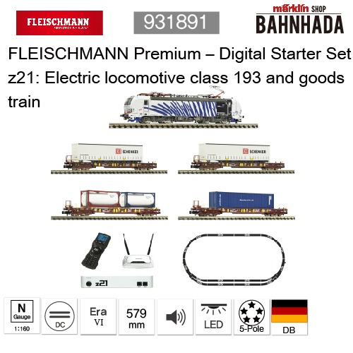 931891 - FLEISCHMANN Premium – Digital Starter Set z21: Electric locomotive class 193 and goods train