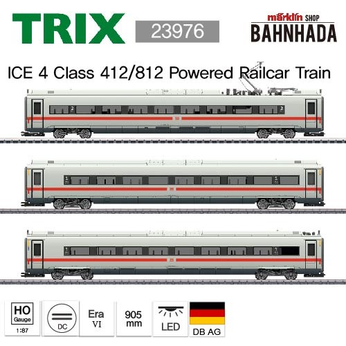 TRIX 23976 Class 412/812 ICE 4 Powered Railcar Train with a Green Stripe, 3 Cars Add-on Set