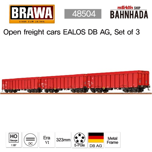 BRAWA 48504 Open freight cars EALOS DB AG, Set of 3