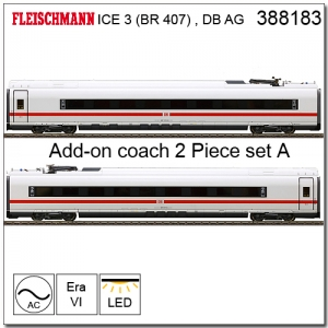 FLEISCHMANN 388183 2 piece ICE supplementary set BR 407.1/407.6 (part 1), AC, DB AG
