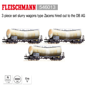 Fleischmann 546013 3 piece set slurry wagons type Zacens hired out to the DB AG