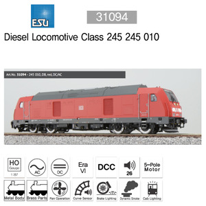 ESU 31094 Diesel loco, 245 010, DB, red, Ep VI, Sound+Smoke, DC/AC