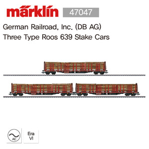 Marklin 47047 German Railroad, Inc. (DB AG)  Three Type Roos 639 Stake Cars