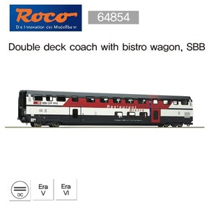 Roco 64854 Double deck coach with bistro wagon, SBB