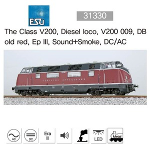 ESU 31330 The Class V200, Diesel loco, V200 009, DB old red, Ep III, Sound+Smoke, DC/AC