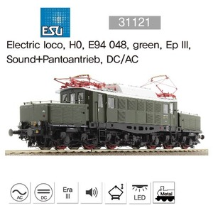 ESU 31121 Electric loco, H0, E94 048, green, Ep III, Sound+Pantoantrieb, DC/AC