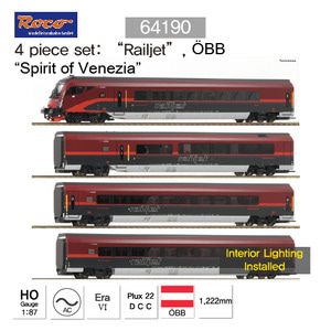 "ROCO HO 64190 4 piece Basic set: ""Railjet"", OeBB, AC Sound"