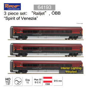 "ROCO 64193 -  3 piece Add-on set: ""Railjet"", OeBB, AC Sound"