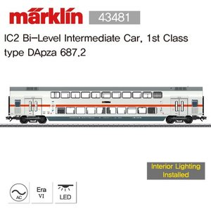 Marklin 43481 IC2 Bi-Level Intermediate Car, 1st Class type DApza 687.2 (전체 재고: 2 EA)
