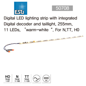 "ESU 50708 Digital LED lighting strip with integrated Digital decoder and taillight, 255mm, 11 LEDs, ?warm-white"". For gauge N,TT, H0"