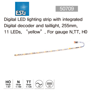 "ESU 50709 Digital LED lighting strip with integrated Digital decoder and taillight, 255mm, 11 LEDs, ?yellow"". For gauge N,TT, H0"