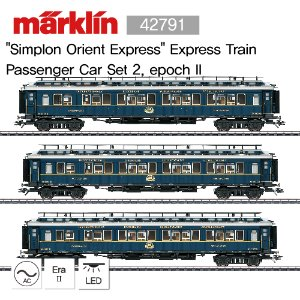"MARKLIN 42791 ""Simplon Orient Express"" Express Train Passenger Car Set 2, epoch II"