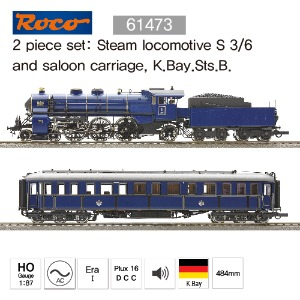 ROCO 61473 2 piece set: Steam locomotive S 3/6and saloon carriage, K.Bay.Sts.B.