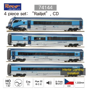 "ROCO HO 74144 4 piece set: ""Railjet"", CD, AC (Maerklin System)"