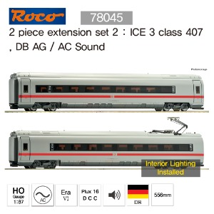ROCO 78045 2 piece extension set 2 : ICE 3 class 407, DB AG / AC Sound