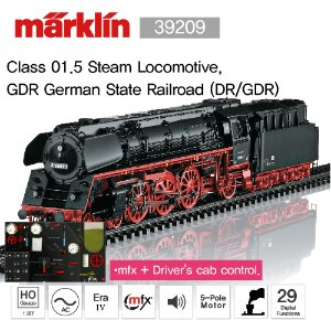 MARKLIN 39209 Class 01.5 Steam Locomotive, GDR German State Railroad (DR/GDR)
