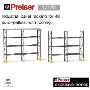 Preiser 17125 Industrial pallet racking for 48 euro-pallets, with roofing.