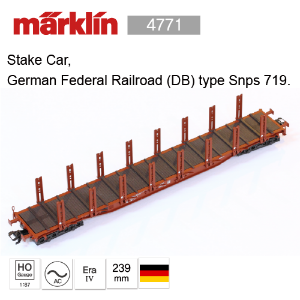 Marklin 4771 Stake Car, German Federal Railroad (DB) type Snps 719. 메르클린