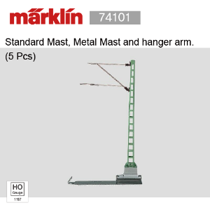 Marklin 74101 Standard Mast, Metal Mast and hanger arm. (5 Pcs)