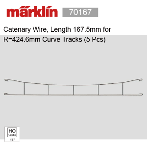 Marklin 70167 Catenary Wire, Length 167.5mm for R=424.6mm Curve Tracks (5 Pcs)