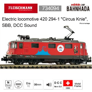 "Fleischmann 734094 Electric locomotive 420 294-1 ""Circus Knie"", SBB, DCC Sound"