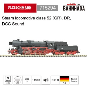 Fleischmann 715294 Steam locomotive class 52 (GR), DR, DCC SOUND