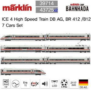 MARKLIN 39714 + 43725 x 2 ICE 4 High Speed Train DB AG, BR 412 /812 7 Cars Set