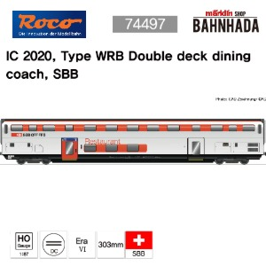 ROCO 74497 IC 2020, Type WRB Double deck dining coach, SBB