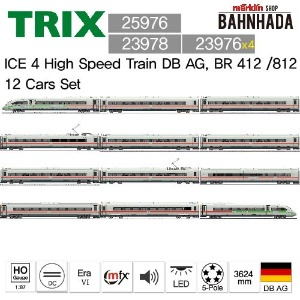 TRIX 25976 + 23978 + 23976 x 4, ICE 4 High Speed Train DB AG, BR 412 /812 12 Cars Set (Green Stripe)