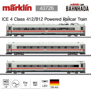 MARKLIN 43725 Class 412/812 ICE 4 Powered Railcar Train with a Green Stripe, 3 Cars Add-on Set