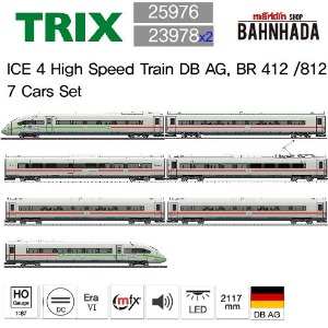 TRIX 25976 + 23978 x 2 ICE 4 High Speed Train DB AG, BR 412 /812 7 Cars Set (Green Stripe)