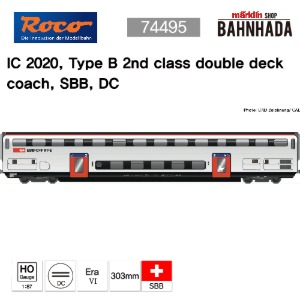 ROCO 74495 IC 2020, Type B 2nd class double deck coach, SBB