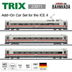 TRIX 23971 ICE 4 Class 412/812 Powered Railcar Train, 3 Cars Add-on Set
