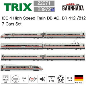 TRIX 22971 + 23972 x 2 ICE 4 High Speed Train DB AG, BR 412 /812 7 Cars Set