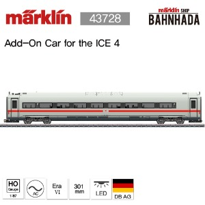 MARKLIN 43728 Class 412/812 ICE 4 Powered Railcar Train with a Green Stripe, 1 Cars Add-on Set
