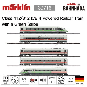 MARKLIN 39716 Class 412/812 ICE 4 Powered Railcar Train with a Green Stripe, 5 Cars Basic Set