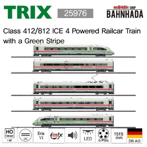 TRIX 25976 Class 412/812 ICE 4 Powered Railcar Train with a Green Stripe, 5 Cars Basic Set