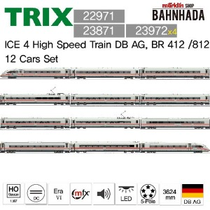 TRIX22971 + 23871 + 23972 x 4, ICE 4 High Speed Train DB AG, BR 412 /812 12 Cars Set
