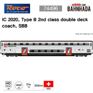ROCO 74496 IC 2020, Type B 2nd class double deck coach, SBB