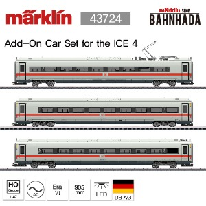 MARKLIN 43724 ICE 4 Class 412/812 Powered Railcar Train, 3 Cars Add-on Set